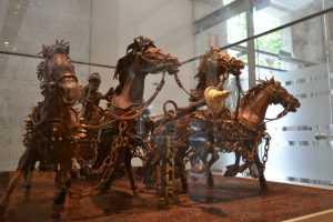 מוזיאון השוקולד ברצלונה - דגם משוקולד של סוסים מהסרט בן חור