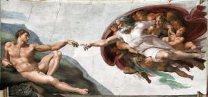 ציור בריאת האדם של מיכלאנג'לו על תקרת הקפלה הסיסניקית