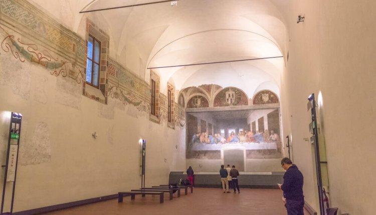 האולם בו נמצא הציור המפורסם של דה וינצ'י - הסעודה האחרונה